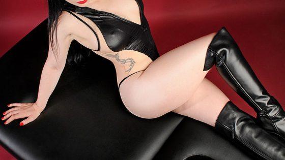 Erotic massage NYC Rachael Richards black leather lingerie