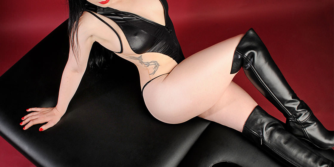 Erotic massage NYC Rachael Richards black leather lingerie
