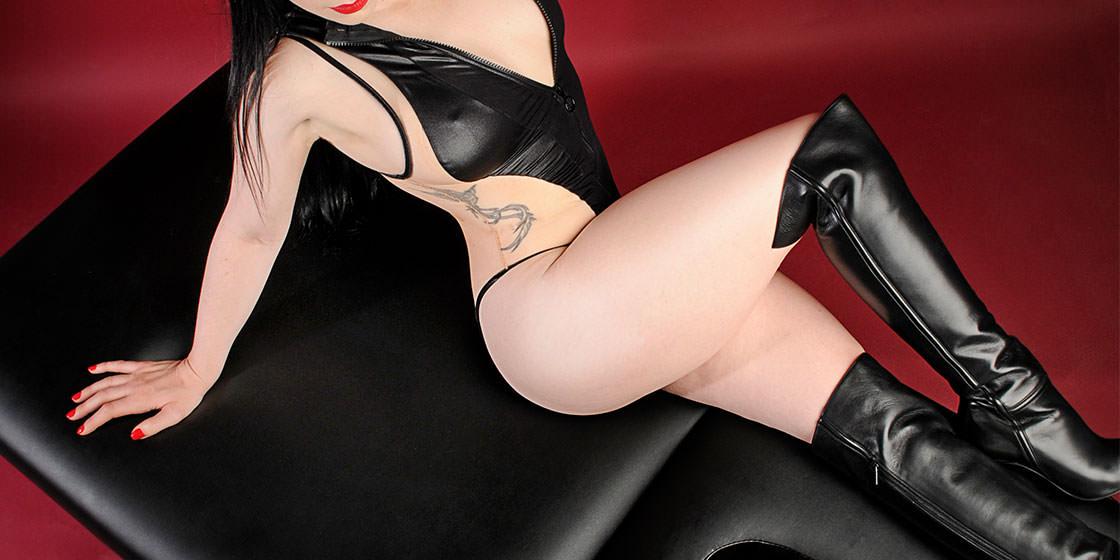 Erotic massage Philadelphia Rachael Richards black leather lingerie